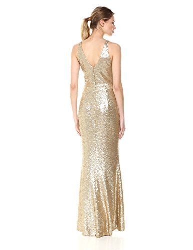 the Sequin Women's Gold Population Plunging Gown Long Sleeveless Dress Harper Brushed 4wOqxFqd