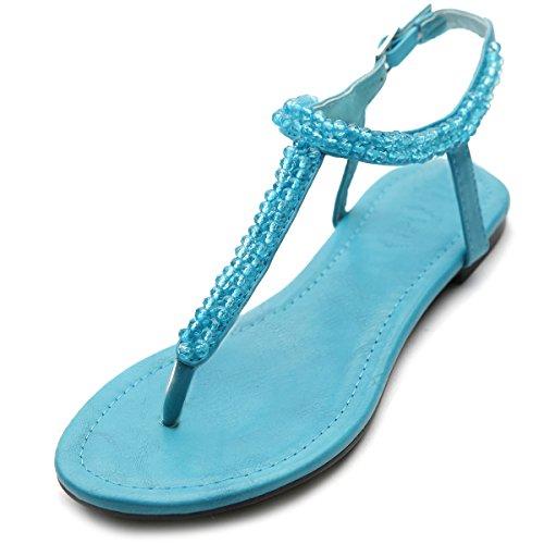 Ollio Women's Flat Shoe Beaded Thong Ankle Strappy Multi Color Sandal(6.5 B(M) US, Aqua)