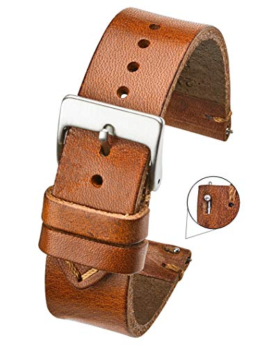 Hand Made Genuine Vintage Leather Watch Strap with Quick Release Steel Spring Bars - Tan - 20mm (fits Wrist Size 6 1/4 inch to 8 ()