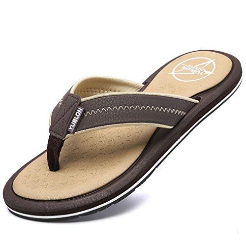 NEW Men's Shoes Summer Stripe Flip Flops Male Slipper Flip-Flops brown 9.5 by BEACHR