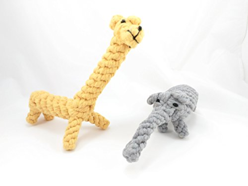 Premium-Dog-Chew-Toy-Elephant-Giraffe-100-Cotton-Braided-Rope-For-Strength-Dental-Cleaner-Great-For-Puppies-Reduce-Boredom-Great-For-Playing-And-Exercise