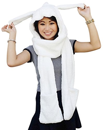 AM Landen Thick and Soft Winter Warm Hoodie Gloves Pocket Hat Scarf Snood (White Rabbit Hood)