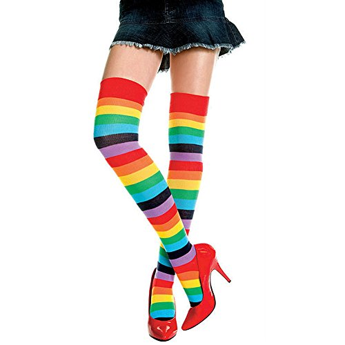 [Rainbow Stripes Cotton Long Socks,Over Knee High Thigh Women Stretch Running Stockings by CLINE, Great for Halloween Cosplay Costume Gay Pride Day] (Mens Halloween Costume Ideas Last Minutes)