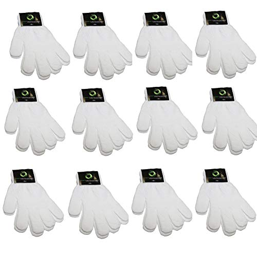 Children Warm Magic Gloves 12 Pairs Teens Winter Gloves Boys Girls Knit Gloves(7 to 16 years old) (White)