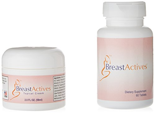 Breast Actives All Natural Breast Enhancement Supplement Capsules and Cream Combo Kit - Natural Formula for Natural Breast Enhancement - 1 Pack (1 Month Supply) - 60 Capsules - 2 oz Cream (Best Breast Enhancement Cream Reviews)