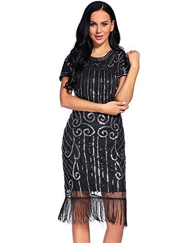 Flapper Dress Costume Plus Size (Flapper Girl Women's 1920s Vintage Inspired Sequin Embellished Fringe Gatsby Flapper Dress (XXL, Black&Silver-1))