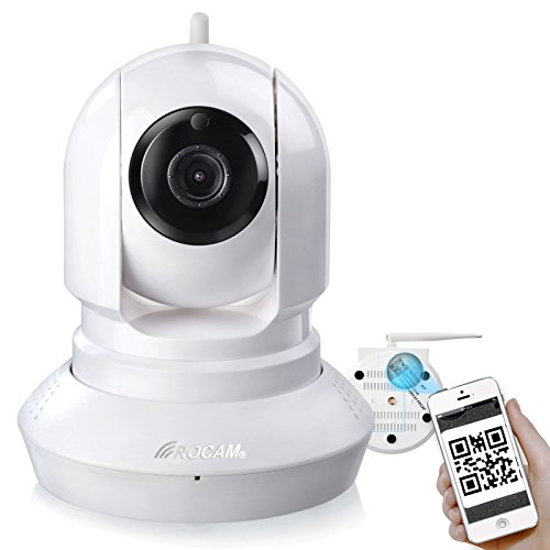 ROCAM NC500HD Wireless IP Camera Pan/Tilt/ Night Vision Built-in Phone Remote Monitoring Support White