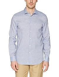 Men's Slim Fit Long Sleeve Solid Linen Shirt