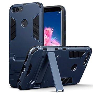 TERRAPIN Huawei P Smart Carcasa Híbrida de Silicona + Polycarbonato Doble Resistencia, y Soporte para Mesa - Azul Oscuro