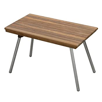 "Teak Bench with Aluminum Folding Legs (30""W x 14"" D)"