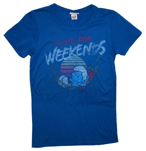 The Smurfs I Live For Weekends Cartoon Vintage Style Junk Food Juniors Babydoll