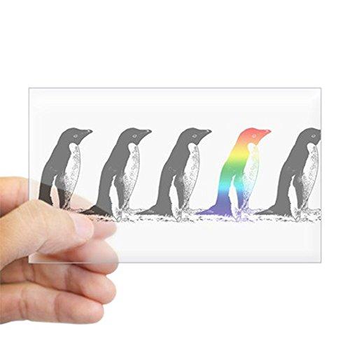 CafePress Rainbow Penguin Rectangle Sticker Rectangle Bumper Sticker Car Decal