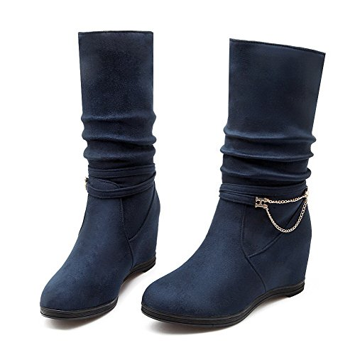 Suede Imitated Round on Heels High Women's Pull WeenFashion Boots Blue Closed Solid Toe WfF4Ucq