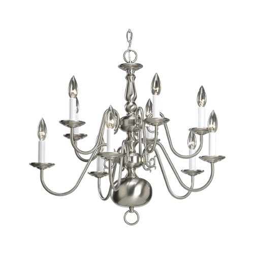Progress Lighting P4358-09 10-Light Two-Tier Americana Chandelier, Brushed Nickel