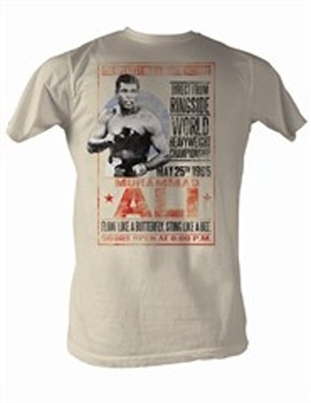 Muhammad Ali T-shirt Adult 1965 Poster Dirty White Tee, Large