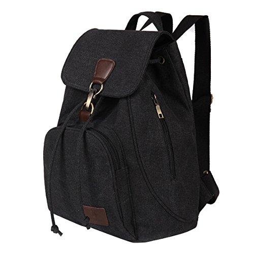Canvas Fletion College Black Travelling Casual Travel Gym Daypack Sports Bag Bags Rucksack Retro Camping Vintage Designer Laptop Computer Backpack Satchel Handbag for Ideal Hiking Shoulder PPSn5q0r