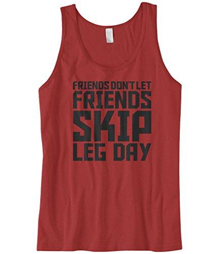 Cybertela Men's Friends Don't Let. Skip Leg Day, Workout Tank Top (Red, 3X-Large)