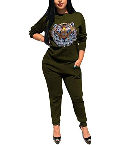 Women's 2 Piece Pants Suits - Rhinestone Tiger Long Sleeve Pullover Tops Bodycon Long Pants Jumpsuits Romper Army Green L ()