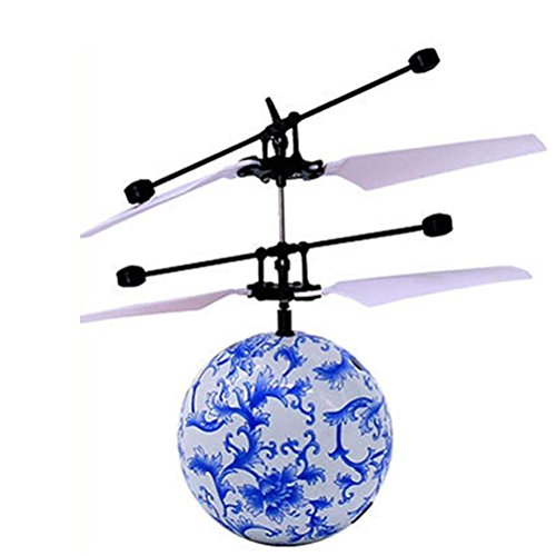 kaifongfu Toy,RC Flying Ball Drone Helicopter Ball Built-in Shinning LED Lighting for Kids Toy (Blue)