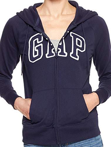 GAP Womens Arch Logo Zip Hoodie Full Zip, Navy Uniform (L)