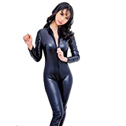 - 41EZciFneuL - Women Sexy Faux Leather Wet Look Zipper Catsuit One Piece Metallic Crotchless Bodysuit Clubwear