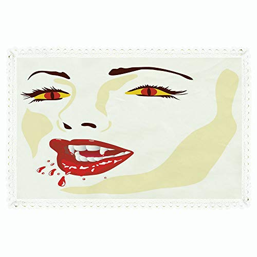 iPrint Vampire,Rectangle Polyester Linen Tablecloth/Vamp Face Vivid Design Bloodthirst Expression Scary Sexy Undead Monster Demonic/for Dinner Kitchen Home Décor,60