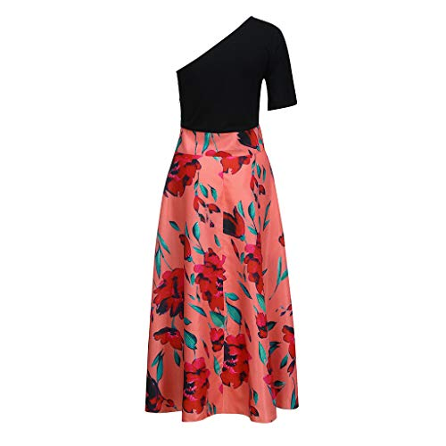 Dresses For Women Casual Sexy Cold Off Shoulder Flare Sleeve Bohe Flowers Print Long Dress (XXXL, Red) ()