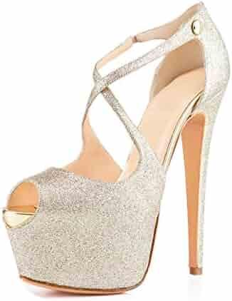 fdbe60b043e3 Joogo Open Toe Platform Stilettos Ankle Corss Strap Buckle Snap High Heels  Wedding Pumps