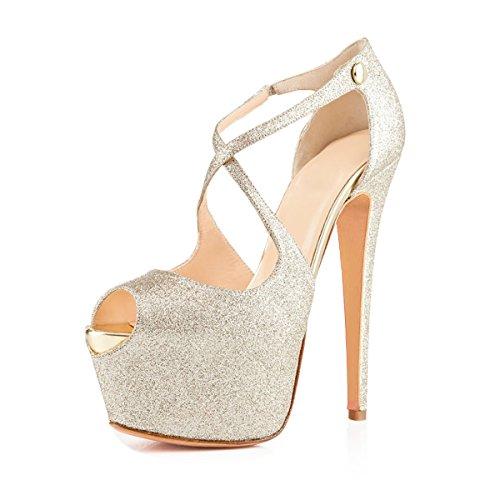 Joogo Open Toe Platform Stilettos Ankle Corss Strap Buckle Snap High Heels Wedding Pumps Shimmer Glitte Size 8