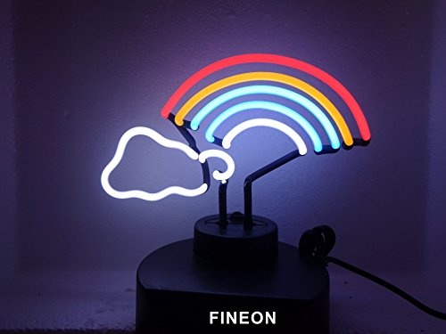 Rainbow Handicrafted Real Glass Tube Neon Sculpture with PLASTIC BASE as A4 size for Beer Bar Pub Garage Room (Neon Sculpture Bar)