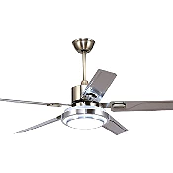 Rainierlight simple stainless steel ceiling fan and led light with tropicalfan modern ceiling fan with one led light opal frosted glass lampshade remote control home indoor aloadofball Images