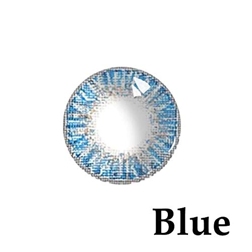 Women's multi-color cute charm and attractive color eye enhancer multi-color shadow, [Blue] the most natural eye color change - (1 Pair) (Crazy Color Contact Lenses)