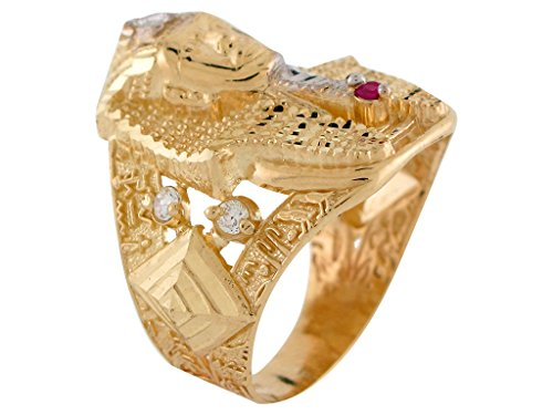 10k Two-Tone Gold Red & White CZ King Tut Egyptian Pharaoh Mens Wide Band Ring by Jewelry Liquidation (Image #2)
