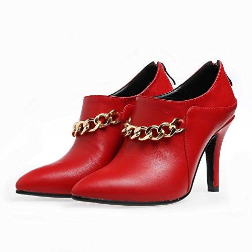 VogueZone009 Damen PU Leder Rein Reißverschluss Spitz Zehe Stiletto Pumps Schuhe Rot
