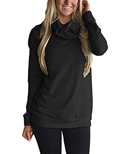 Diukia Women's Long Sleeves Collar Quarter 1/4 Zip Solid Hoodies Fleece Pullover Sweatshirts with Pockets(S-2XL) ()