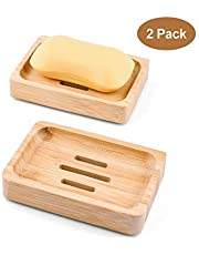 Kany zeepbakje bamboe, zeepbakje bamboe zeephouder natuurlijker uit hout badkamer douche verpakking van 2 (bamboe)