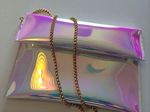 Zarapack bolso de mano mujer de embrague funda de piel sintética bandolera con funda para tarjetas de aparcamiento bolsa de palos de Monedero de - M with Chain