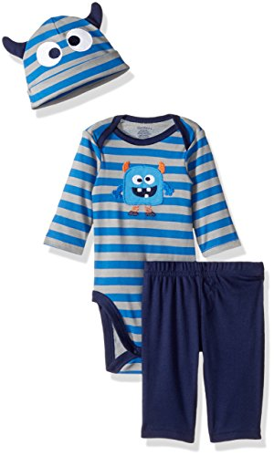 Gerber Baby 3 Piece Bodysuit, Cap and Pant Set, monster, 6-9 Months
