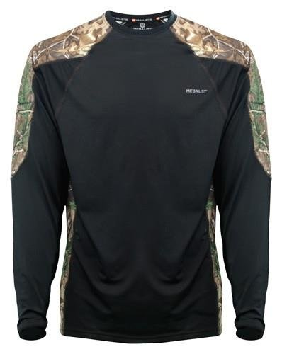 Medalist Performance Crew Ls Level-2 Black/Rt Camo - Medalist Apparel