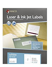 MACO Laser/Ink Jet White Internet Shipping Labels, 5-1/2 x 8-1/2 Inches, 2 Per Sheet, 200 Per Box (ML-0200)