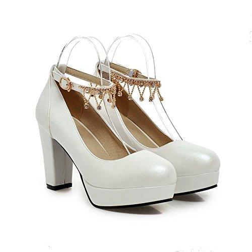 AllhqFashion Damen Hoher Absatz Eingelegt Schnalle Rund Zehe Pumps Schuhe Weiß