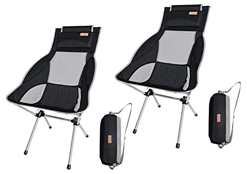 NiceC Ultralight High Back Folding Camping Chair, with Headrest, Outdoor, Backpacking Compact & Heavy Duty Outdoor, Camping, BBQ, Beach, Travel, Picnic, Festival with Carry Bag (2 Pack of Black)