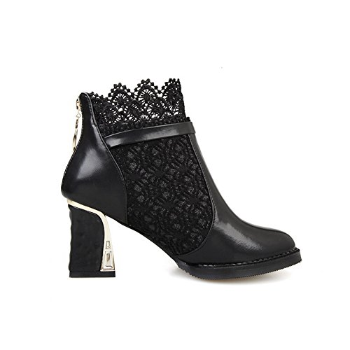 Imitated 1TO9 Boots Zipper Chunky Buckle Lace Heels Leather Black Ladies 7ZwRqa7HO