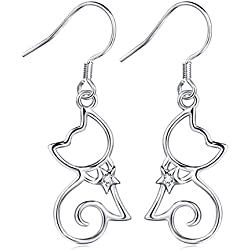 "YFN Sterling Silver CZ Open Little Cat Dangle Earrings Pendant Necklace 18"" (Cat Earrings)"