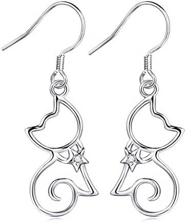 YFN Sterling Silver CZ Open Little Cat Dangle Earrings Pendant Necklace 18