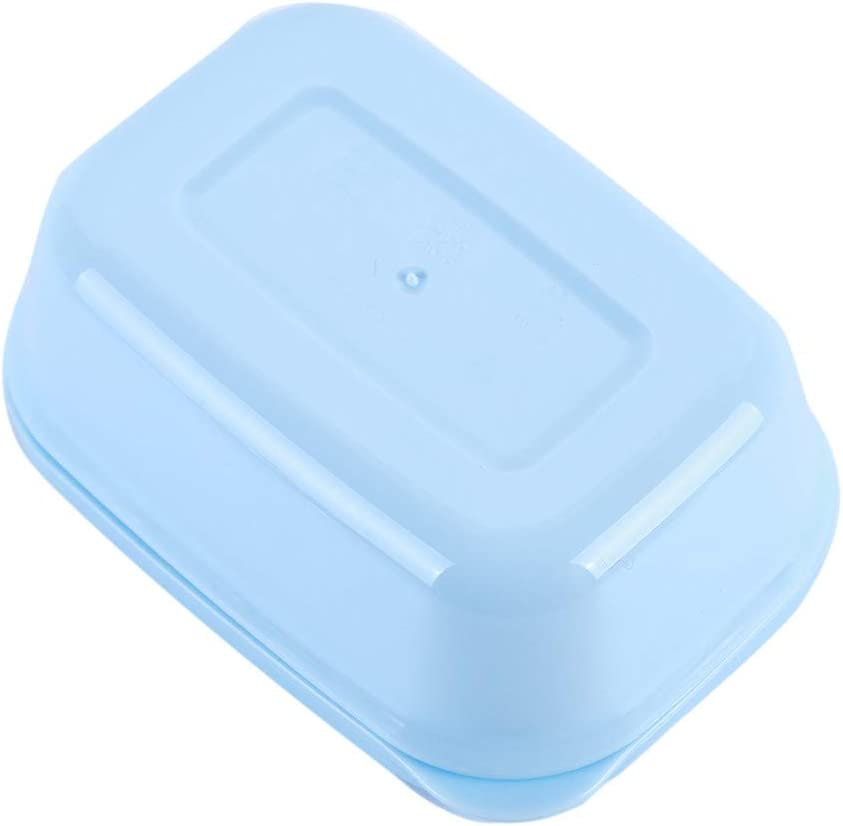 LJSLYJ Portable Rectangle Soap Box Drain Layer with Lid Soap Dish for Travel,white