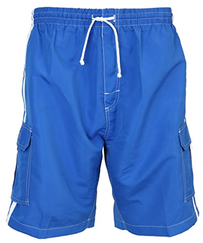 SURF AVE Men's Classic Five Pockets, No Grommets, Long Swim Trunks (Large, Royal Blue) ()