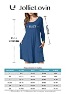 JollieLovin Women's Casual Swing 3/4 Sleeve Pockets T-shirt Loose Dress