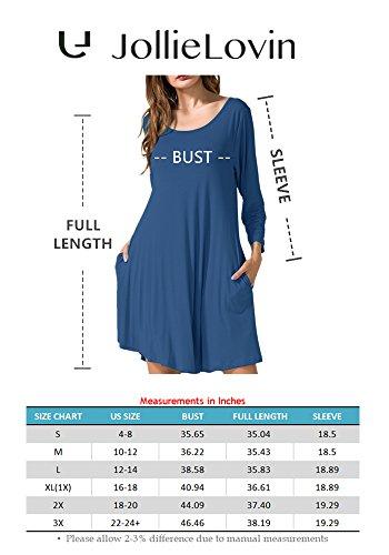 Swing T Women's Shirt Casual JollieLovin Sleeve 4 green Loose 3 Deep Dress Pockets 0Z6wqw