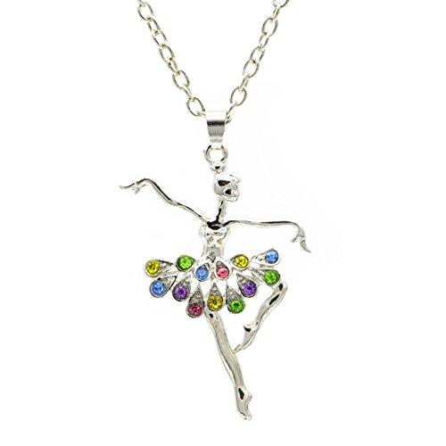 Wxbox Childrens Delicate Gift Dancing Ballerina Dancer Ballet Dance Pendant Necklace Charm (Multi-Color)